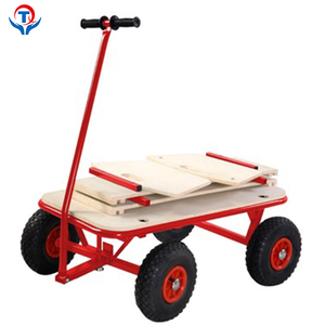 Foldable 4 Wheel Wooden Kids Serving Garden Toy Cart Wagon