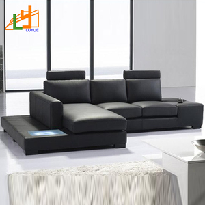 Fashion Armrest Genuine Leather Living Room Furniture Couch Latest Modern Design Lounge L Shaped Sofa