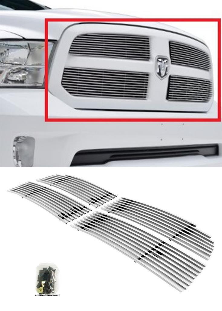 Sizver Chrome 4pc Billet Grilles Insert Overlay For 2013-2015 Dodge Ram 1500 *Fits 1500 Express / HFE / SLT / Tradesman*