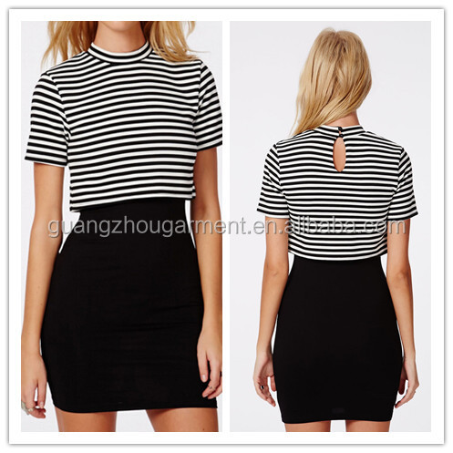Over High Neck White/black Stripe Top With Black Jersey Skirt ...