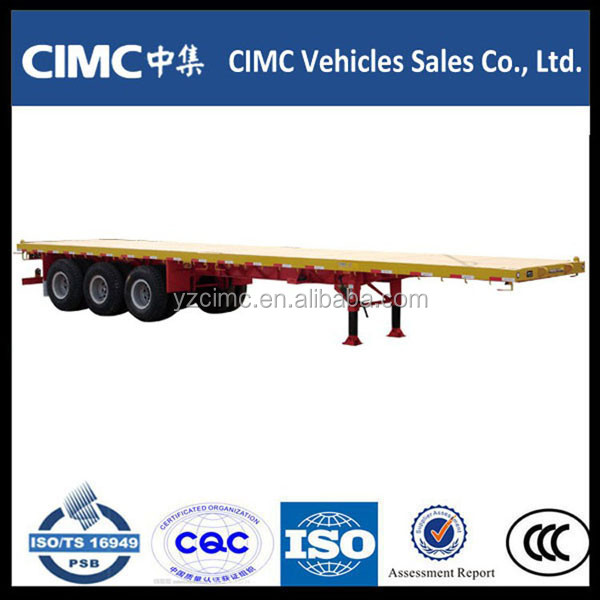 Three axles 40ft flatbed semi trailer with front trailer frame,twist lock