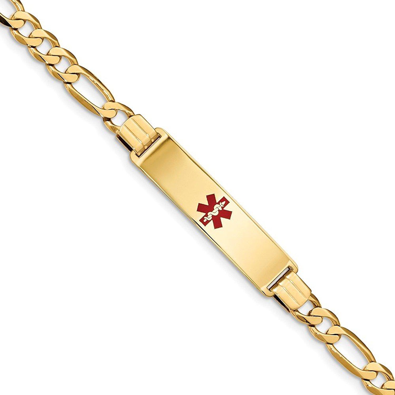 Jewelry Best Seller 14K Medical Red Enamel Flat Figaro Link ID Bracelet