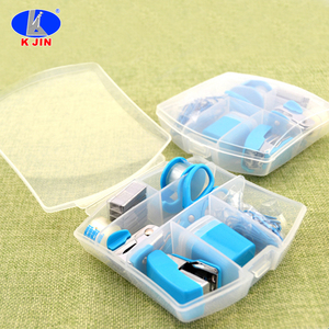 7 in 1 Mini Plastic box desktop Stationery student and office Kit Including Scissors and Stapler