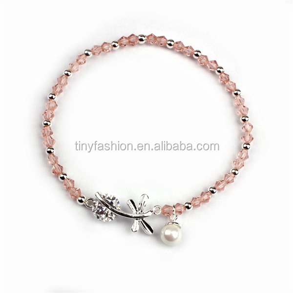 Pink Italian Crystal Glass Beads Chain Bracelet Interchangeable Beads Handmade Dragonfly Pearl Bracelet