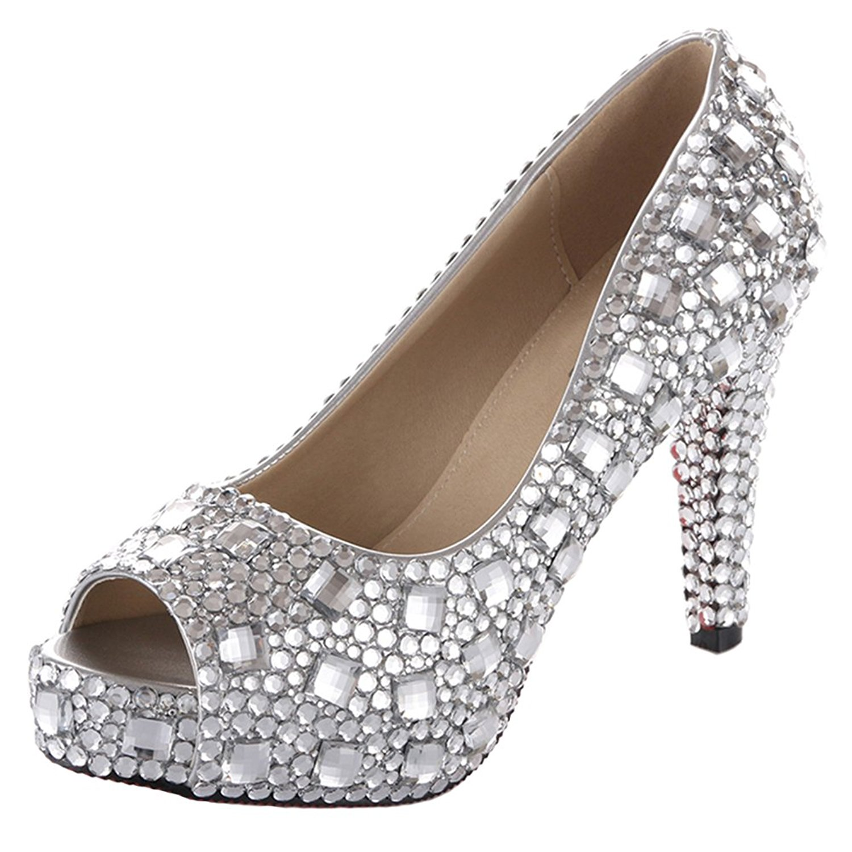 87784eeb36715 Get Quotations · VELCANS Silver Wedding High Heel for Bridal