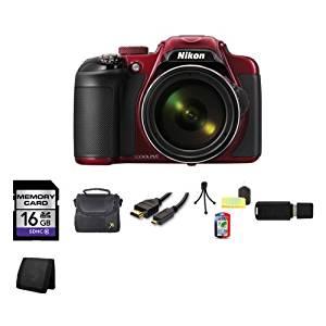 Nikon COOLPIX P600 16.1 MP Wi-Fi CMOS Digital Camera (Red) 16GB Bundle 1