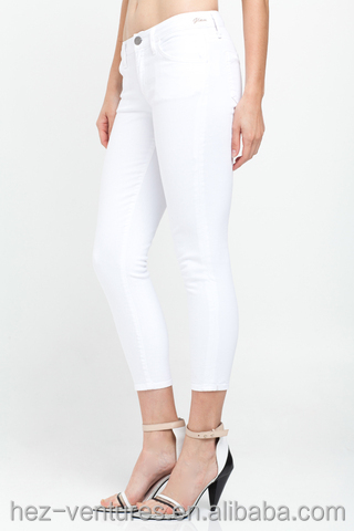 Women Slim Fit Jeans/ Ladies Genetic Denim White Cropped Jeans ...