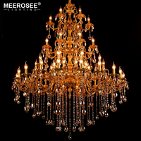 MEEROSEE Large Crystal Chandelier Light Hanging Lamp for Restaurant Hotel Project Huge Lustres Illuminates Lighting MD85897