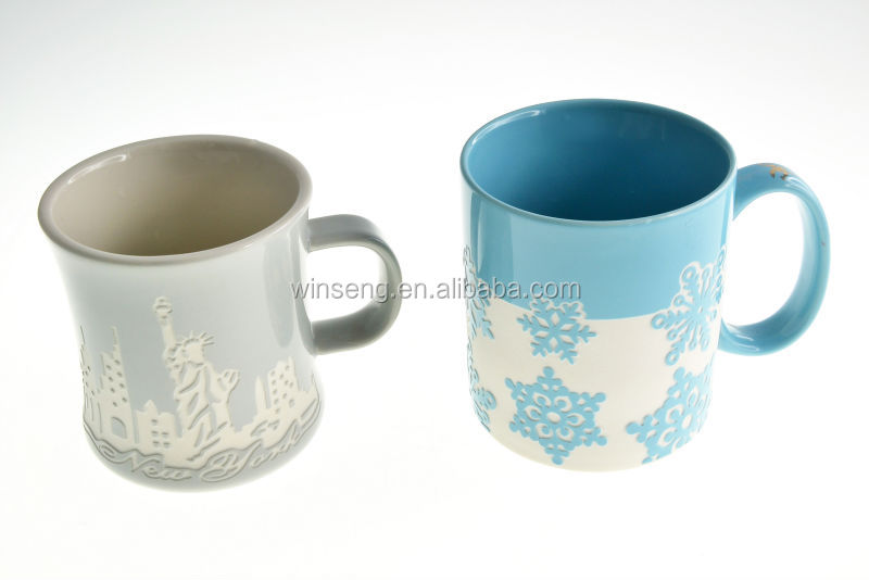 Ceramic Sky Blue And White Color Snowflake Pattern 3D Relief Mug