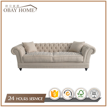 3 Seater Classic Upholstery Fabric Curved Sofa French Provincial