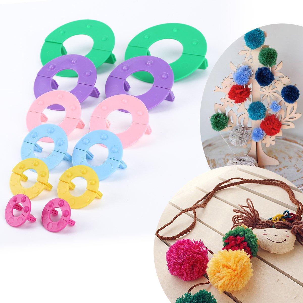 Surepromise Pompom maker 6 sizes pom poms bobble maker kit knitting crafts ball tool -- 2.5CM/3.5CM/4.5CM/5CM/7CM/9CM