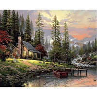 CHENISTORY DZ1170 Oil Diy Paint By Numbers Cabin Wall Decor Art No Frame For Wholesale
