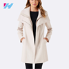 2017 Popular Double Zip Off-White Fitted Coat for Women Lady Woolen Overcoat