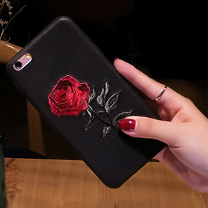 Unique design phone Case for iPhone 7 8 plus Beautiful Embroidery Rose Flower Cover case With Tempered Glass