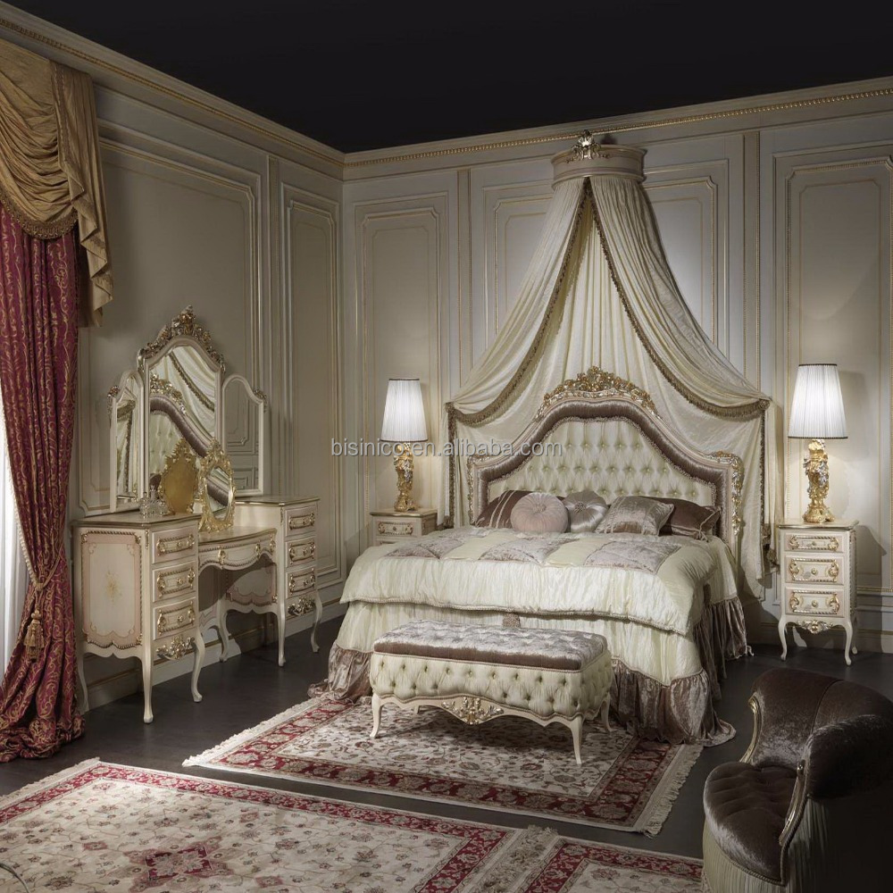 - European Italian Design Antique Golden Romantic Royal Bedroom Set