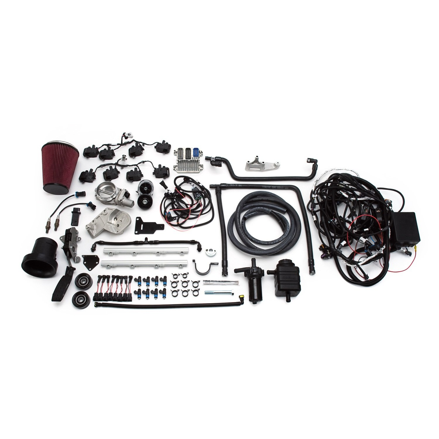 Edelbrock 46750 Supercharged LS 416 Crate Engine and Electronics LongBlock Incl. E-Force Supercharger/Engine Wiring Harness/ECU/Elect. Fuel Pedal/MAFS/ThrottleBody/Ign. Coils/Heated O2 Sensors Supercharged LS 416 Crate Engine and Electronics