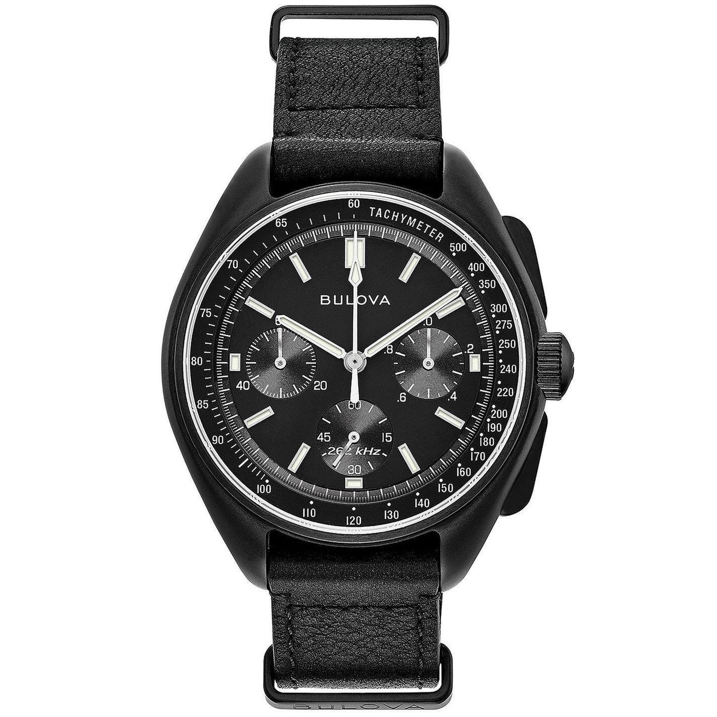 Bulova Special Edition Lunar Pilot Chronograph Leather Watch 98A186