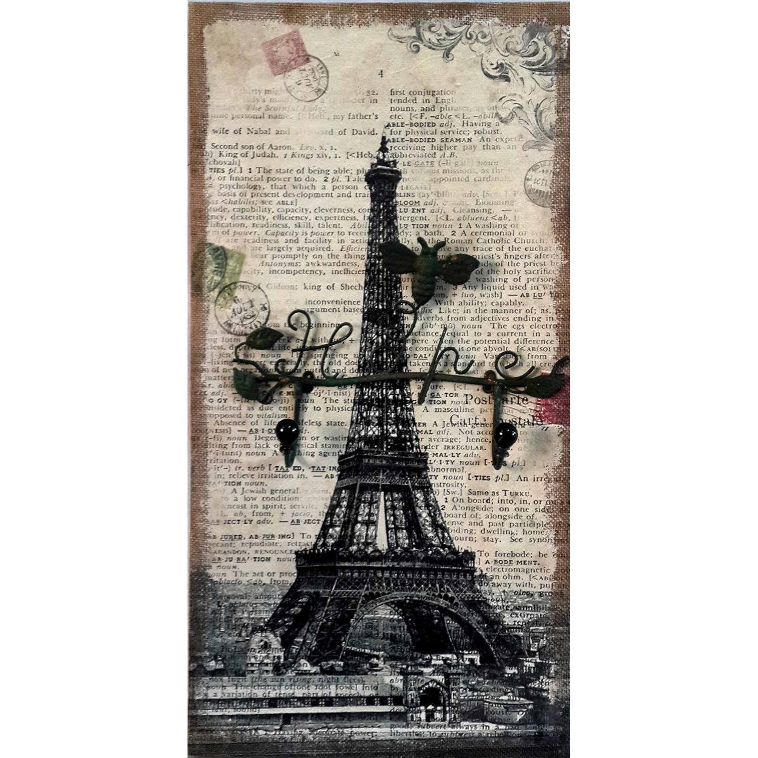 """Eiffel Tower Wall Decor with """"Hope"""" Iron Hanger, Hand Painted Wall Plaque."""