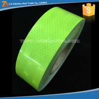 Traffic Safety Micro Prismatic PET Yellow and Green High Intensity Reflective Warning Tapes Fluorescent Color For Truck Stickers