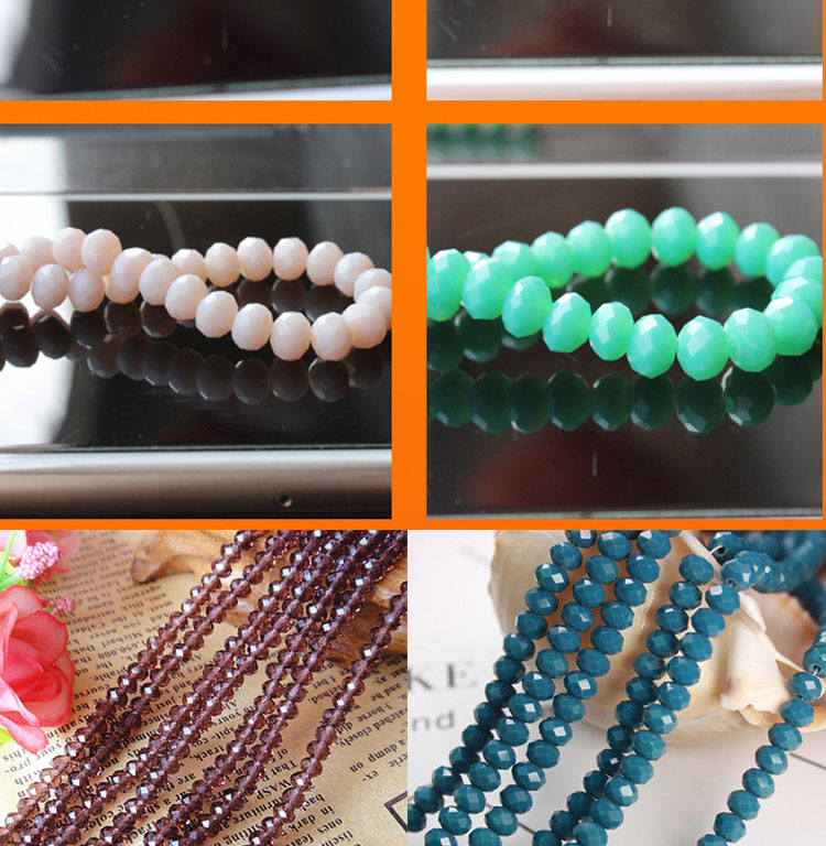 TOP08 Wholesale colorful hanging ornament decorating jewelry k9 crystal glass ball rondelle beads faceted Flat beads