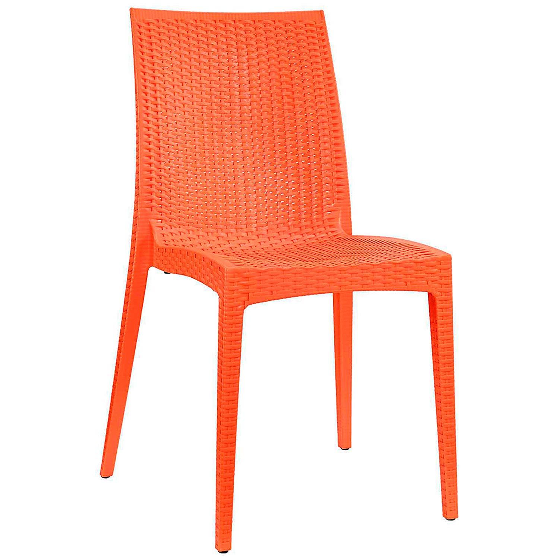 Patio Furniture Modern Intrepid Dining Side Chair, Orange