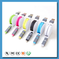2 IN 1 retractable usb cable 3ft Micro USB Connectors Tangle-free Charger for iPhone iPad iPod Samsung HTC Nexus (colors)