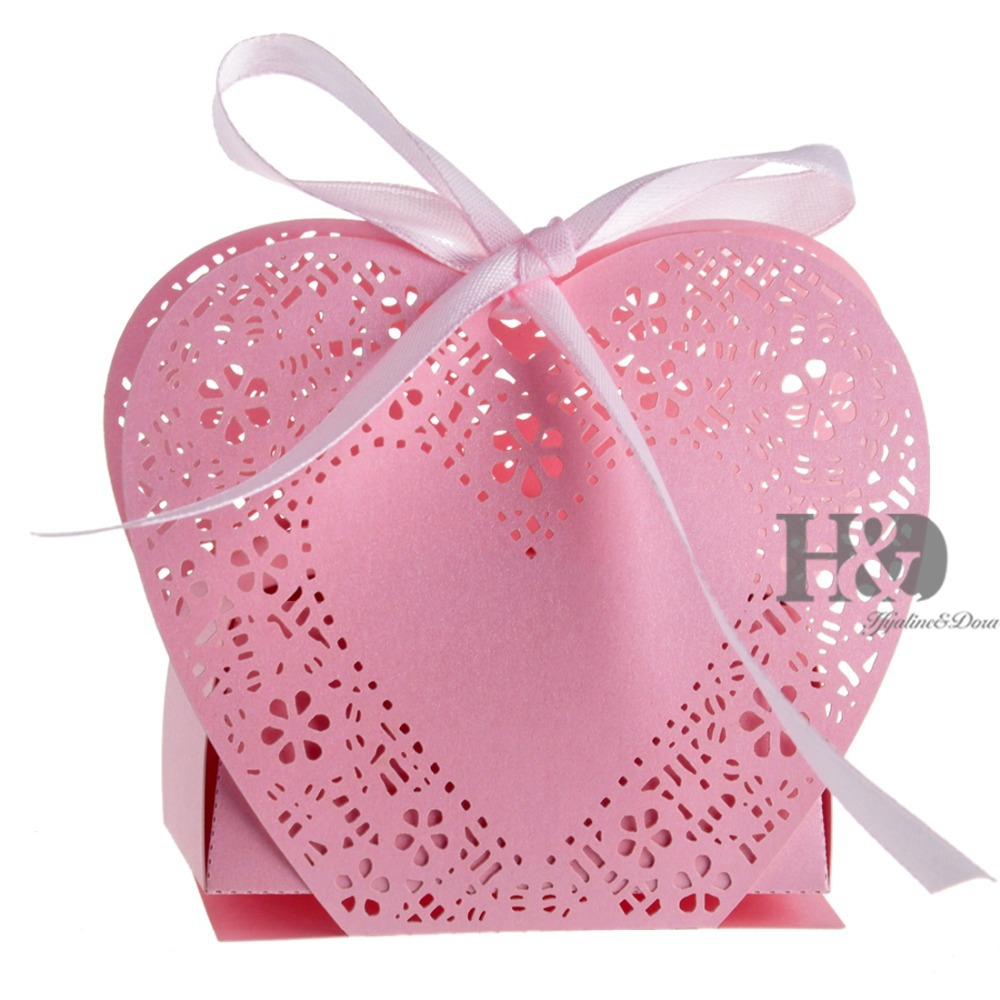 Buy 120 PCS Pink Laser Cut Hollow out Love Heart Ribbons ...