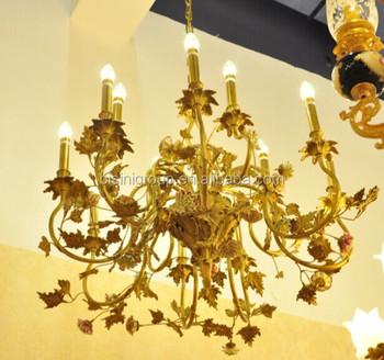 Luxe Design Italien Antique Cuivre Dore Fleur Lustre Vintage En