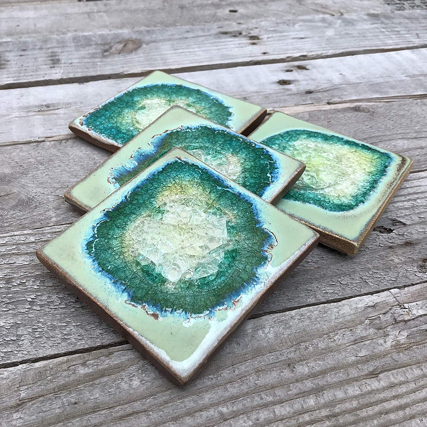 Geode Crackle Coaster Set of 4 in TEXTURED TURQUOISE: Geode Coaster, Crackle Coaster, Fused Glass Coaster, Crackle Glass Coaster, Agate Coaster, Ceramic Coaster, Dock 6 Pottery Coaster