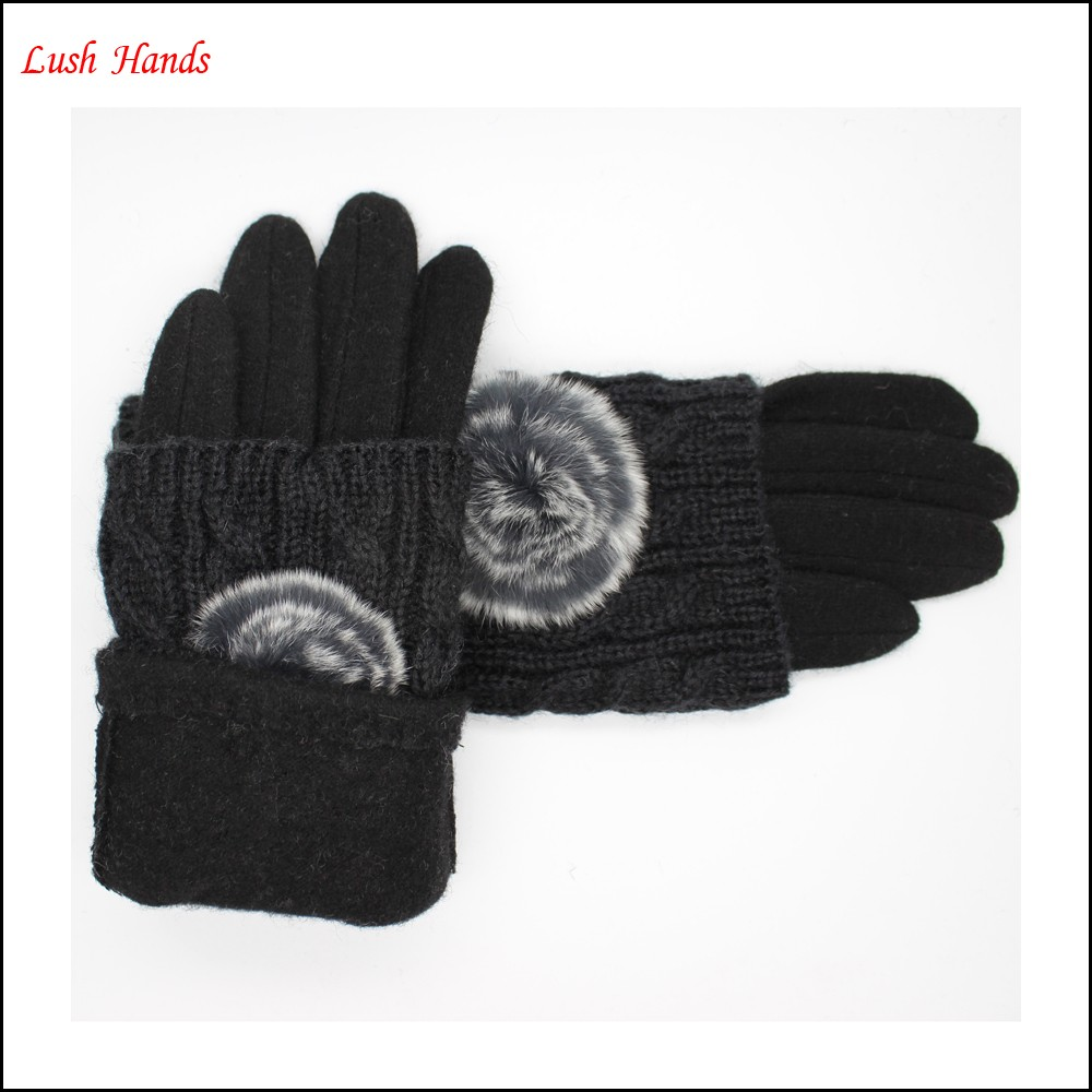 ladies high-quality fashion woolen gloves with rabbit fur ball