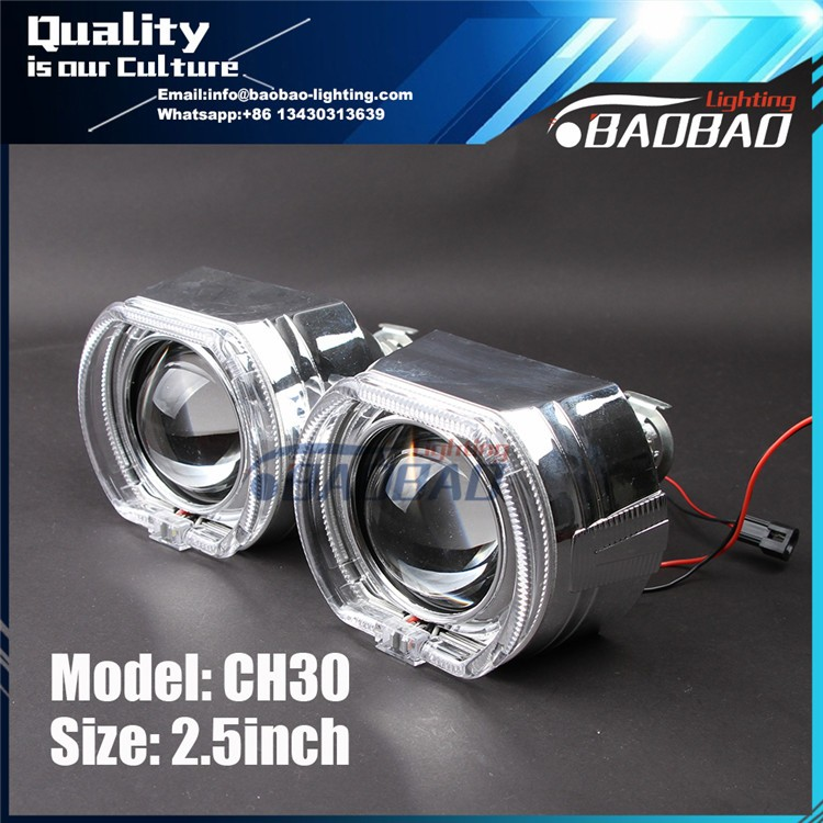 CH30 2.5inch Square hid bixenon projector lens with double angel eye--BAOBAO LIGHTING