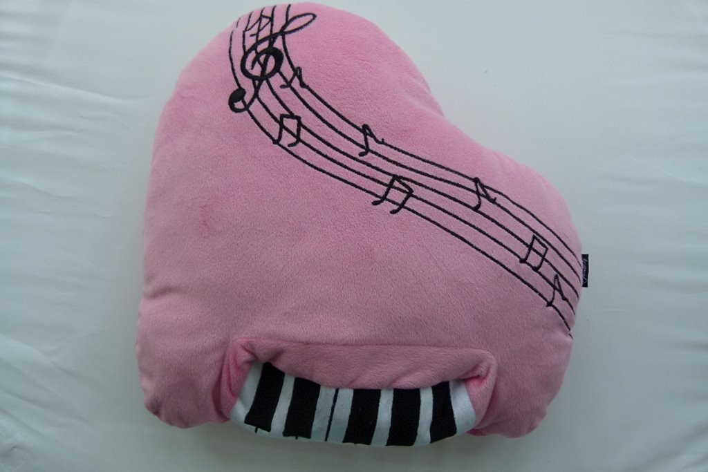 Music Themed Plush Fabric Cushion Pillow - Pink Piano Design