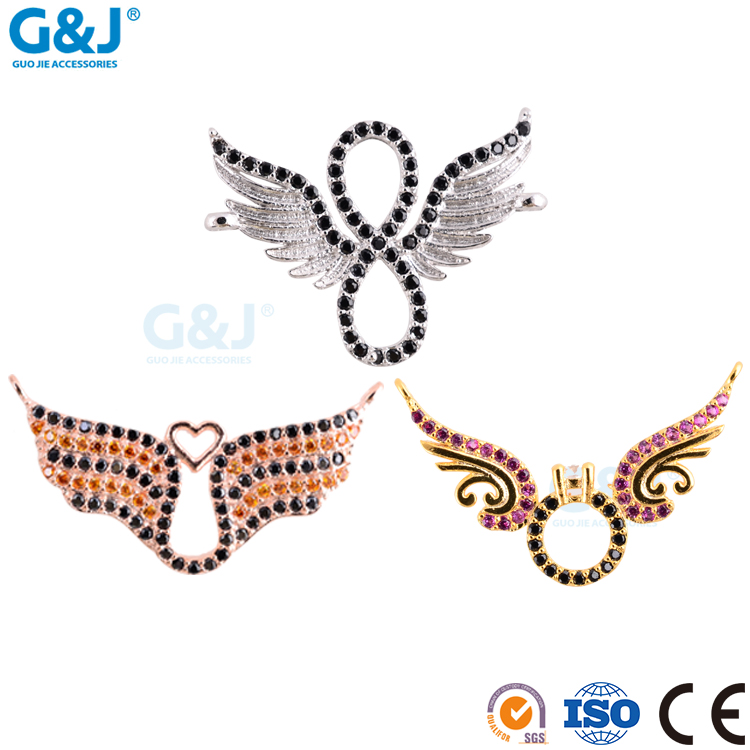 GJ brand wholesale custom angles wing shape gemstone beads for jewelery making crystal pendant