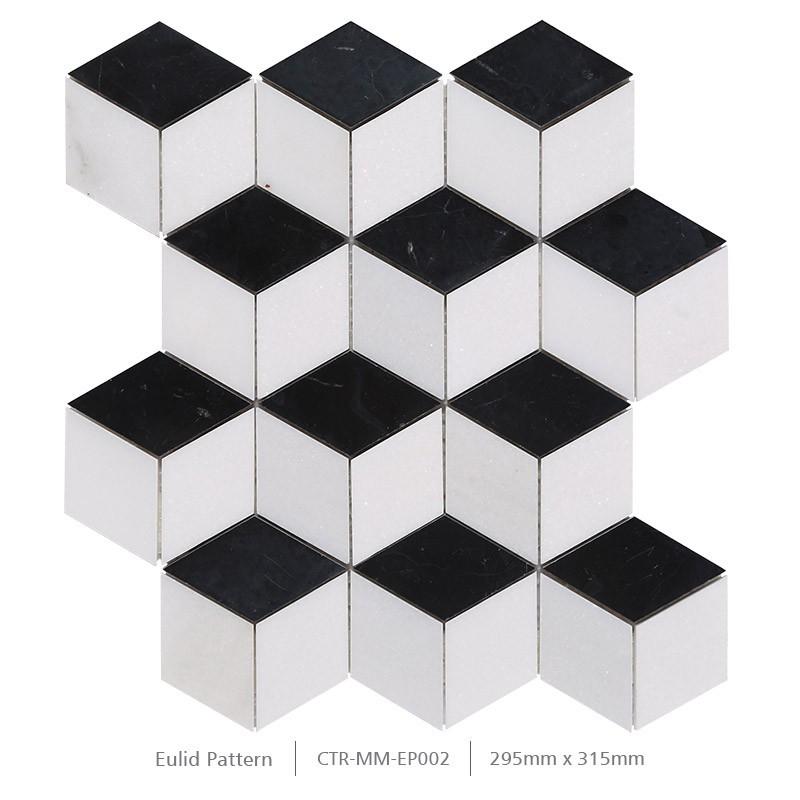 Poli noir et blanc cube 3d mur de salle de bains carrelage mosa que de marbre - Carrelage mosaique noir et blanc ...