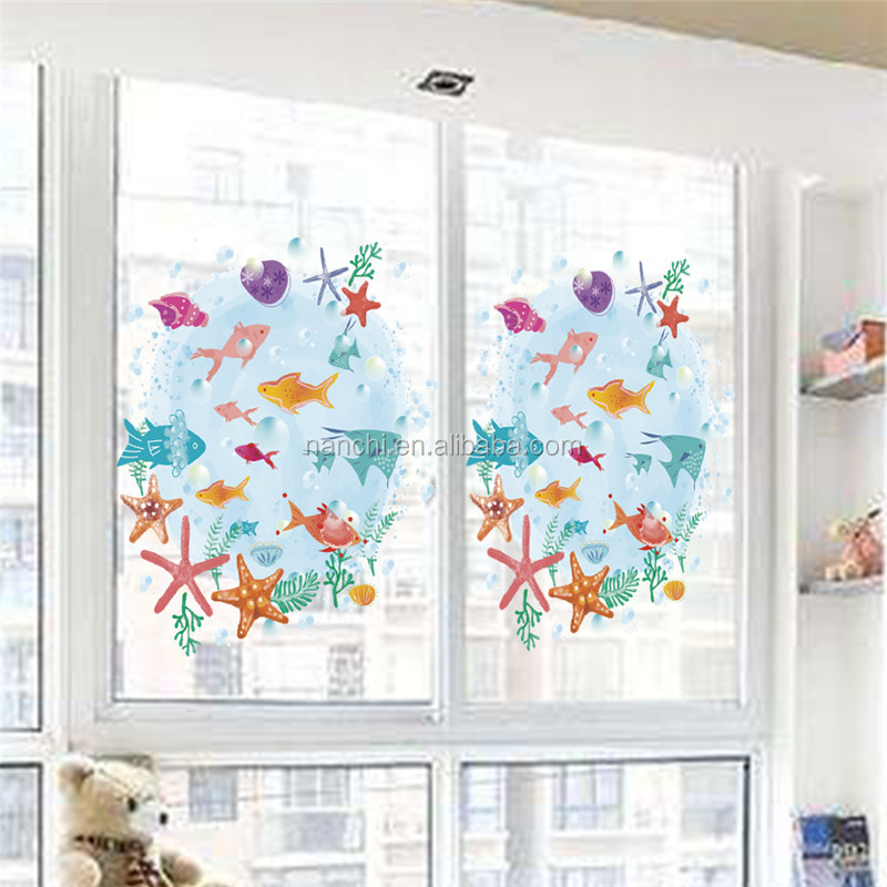 sea world cartoon fish starfish art wall sticker for kids children room living room decorative waterpoof wall murals
