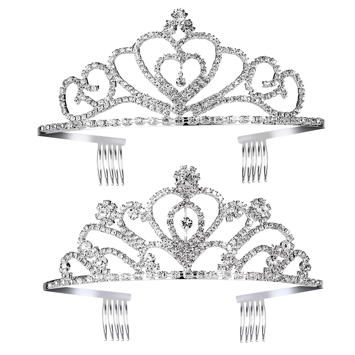 Pixnor Birthday Headband for Girls - 2 Styles Crystal Princess Crown Tiara Headband with Comb for Kids Girls