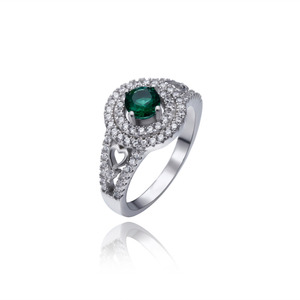 Top grade best selling jewelry emerald wedding engagement ring CZ diamond 925 sterling silver ring