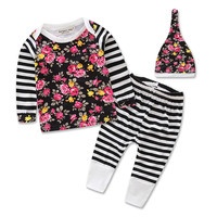 YAYA BABY 2016 cotton 3 pcs stripe new born baby clothes with hat