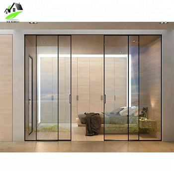 custom latest main designs narrow aluminium frame glass sliding stacking doors