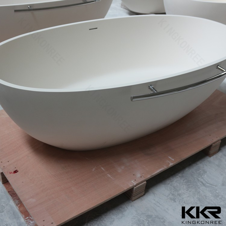 Solid surface freestanding whirlpool bathtub handles