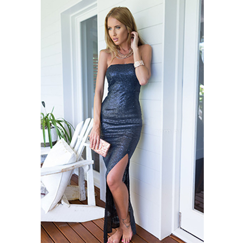 Get Quotations · Plus Women Two Color Strapless Sexy Dress Legs High-Slit  Vestido De Festa Solid With 19e5c050f