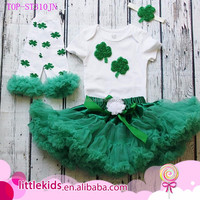 Girls Deluxe Ruffle Green Skirt Shirt Leggings and Headband Set Toddler Skirt Lace Petti 1st St Patrick's Day Outfit Tutu Skirt