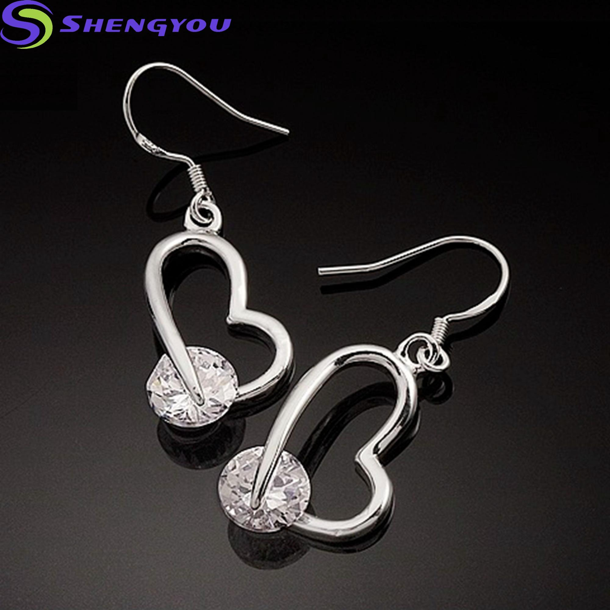 New Trendy Model Fashionable Heart 925 Silver Earrings With Diamond