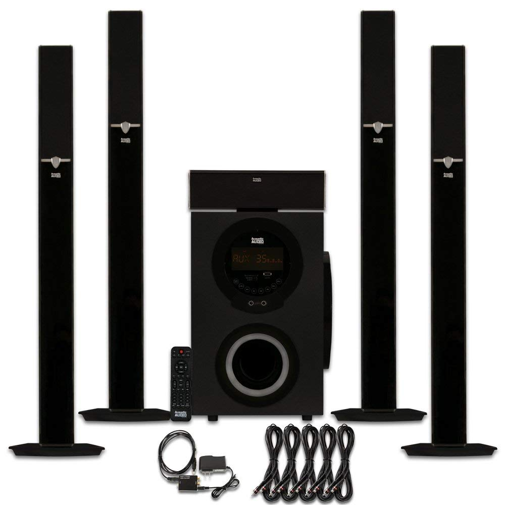 Acoustic Audio AAT3003 Tower 5.1 Bluetooth Speaker System with Optical Input and 5 Extension Cables