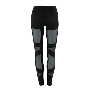 Black Lace High Waist Sport Pants Women Transparent Mesh Sexy Pants Gym Leggings Running Jogging Polyester Material
