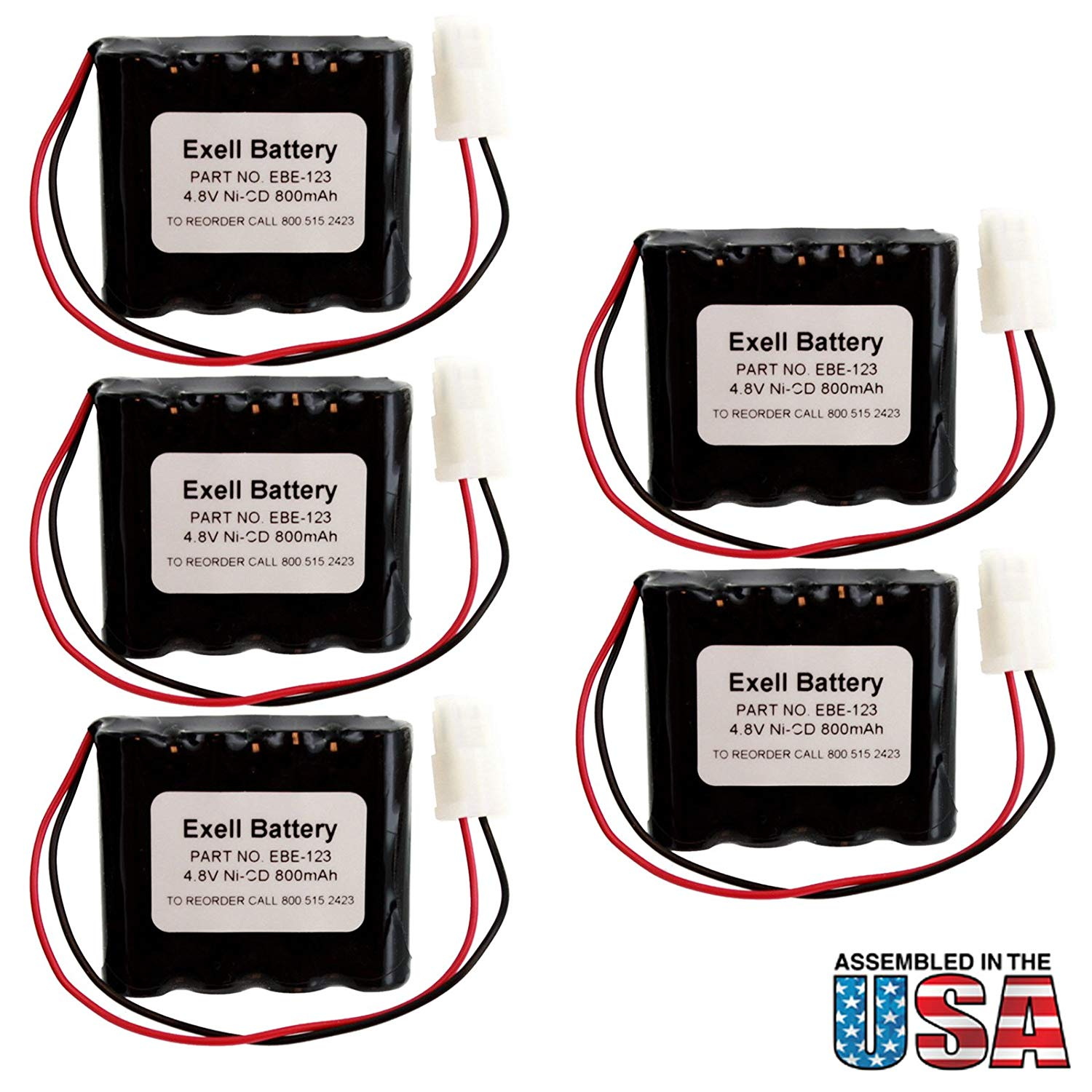 5pc Exell Battery Emergency Lighting Battery Fits and Replaces Interstate ANIC0546, Lithonia 277ELNF, Lithonia ELB4865N, Lithonia LESB1R FAST USA SHIP