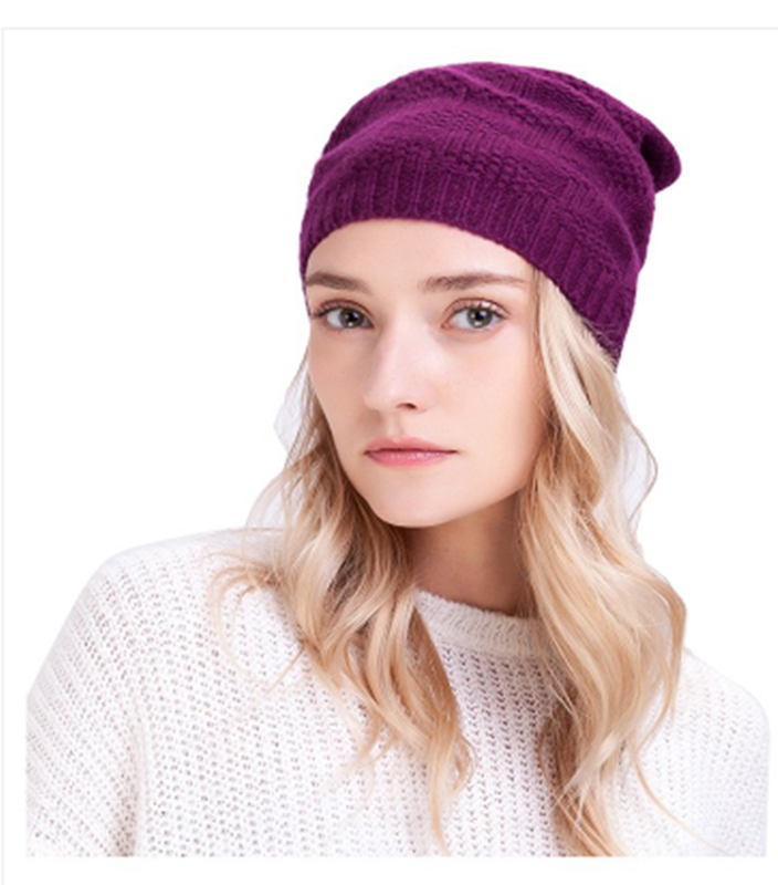 Simple thin ladies slouch knitted beanie