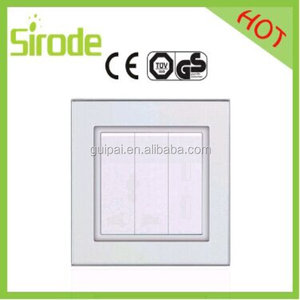 Light Blue Color Gang Way Glass Wall Switch For Saudi Arabia Market