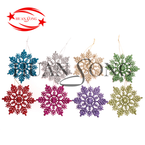 2018 new style small glitter plastic DIY wholesale christmas tree hanging snowflake ornament suppliers for christmas decoration