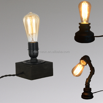 Industrial Lighting Vintage Antique Iron 1 Edison Table Light Wood